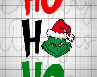 Ho Ho Ho Grinch Face SVG, Grinch, Grinch Ornament, Resting Grinch Face SVG, Christmas SVG, Cricut, Silhouette, Digital Download,