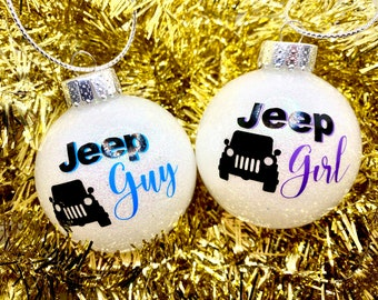 Jeep Ornament, Glitter Ornaments, Personalized, Custom, Customized, Holidays, Christmas, Jeep Guy, Jeep Girl, Jeep Lovers