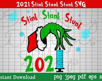 2021 Stink Stank Stunk SVG, Grinch, Grinch Ornament, Resting Grinch Face SVG, Christmas SVG, Cricut, Silhouette, Digital Download,