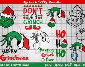 Grinch SVG Bundle, Grinch, Grinch Ornament, Resting Grinch Face SVG, Christmas SVG, Cricut, Silhouette, Digital Download, png, jpeg, eps