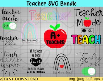 Teacher Svg Bundle, Teacher Svg, Teacher Life Svg, Teacher Quote Svg, School Svg, Back to School Svg, Teacher Appreciation Svg, Digital