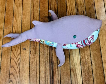 Lavender and Teal Psychedelic Stuffed Whale, Colorful Plush Whale Pillow, Zero Waste Gift, Recycled Fabric Soft Toy