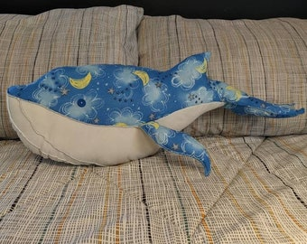 Large Dream Whale, Sweet Dreams Stuffed Blue Whale from Upcycled Fabric, Dreamy Decorative Pillow