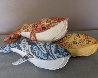 Whale Decorative Pillow, Fabric Stuffed Whale, Mini Stuffed Animal from Upholstery Remnants, Zero Waste Gift