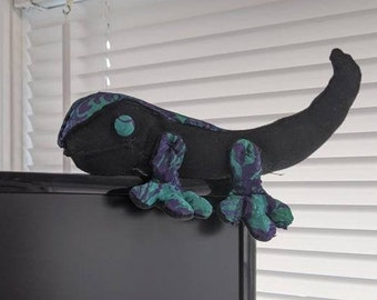 Lizard stuffed animal, green chameleon weighted fabric toy