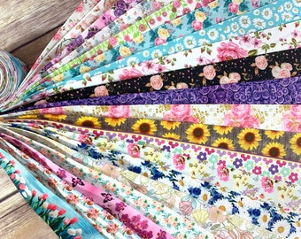 10/20yrds Floral Flowers Ribbon Spring Grosgrain Ribbon Random Mix Design Grab bag Craft Supplies Scrapbooking