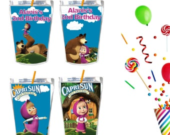 Details about  /Personalized Masha and the Bear Party Favor Box Decoration