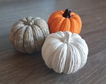 Trio of Concrete Pumpkins + free tealight