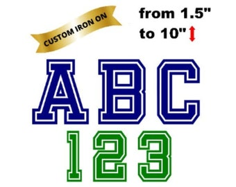 Jersey Name and Number Iron On Decals, Jersey Heat Transfer from 1.5  to 10 inch