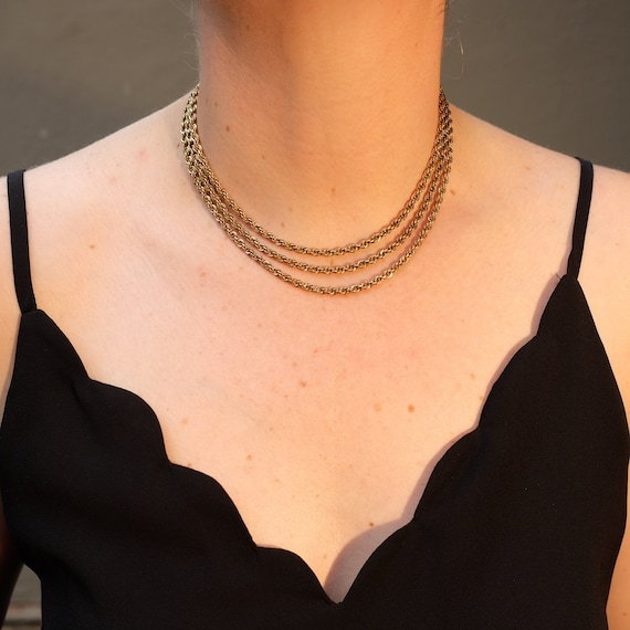 vintage gold necklace, rope chain, chain choker, t