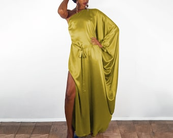 Maxi Chartreuse Silk Kaftan