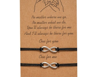 Infinity Friendship Lover Couple Friend Family Wish You Me Promise Card With 2 Adjustable Bracelet Gift Present