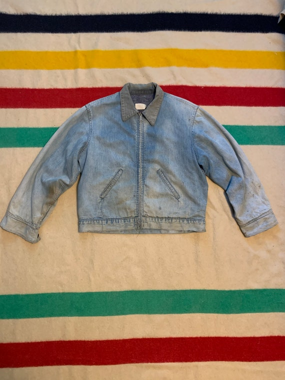 Vintage 60's 70's Blanket Lined Denim Jacket