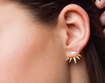 Ear Cuff Drop Earrings Gold Ear Jackets Earring Jackets Spikey Studs Gold Earrings Modern Gold Drops Edgy Earrings Minimal Earrings