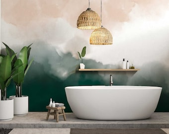 Watercolor splash wallpaper- green ombré wallpaper- blush watercolor wallpaper-WMS-384
