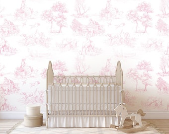 Pink Toile Wallpaper Etsy