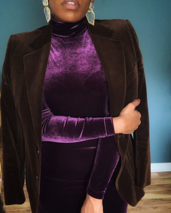 Vintage Purple Velvet Dress   Size Small  