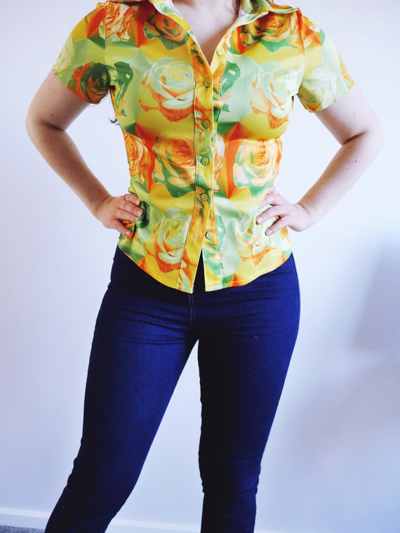 Stunning Vintage 80s Topshop Bright Yellow Floral