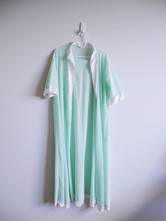 Vintage 60s Mint Green Night Gown / Robe / Duster