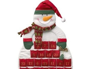 Large Advent Calendar Snowman for Filling, Made of Felt + Fabric, Christmas Decoration