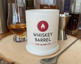 Whiskey Barrel Candle   10 ounce   The Glow Co.