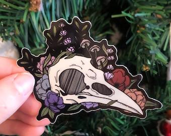 Raven Skull Sticker | Bird Skull Sticker | Mushroom Sticker | Art Sticker | Witchy Sticker | Swamp Sticker | Cute Sticker | Artistic Decal