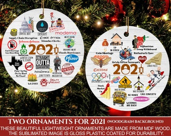 2021 A Year To Remember / Commemorative Year In Review / Covid Pandemic Christmas Holiday Ornament