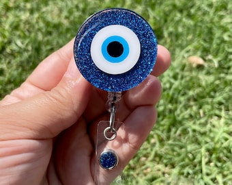 Evil Eye Badge Reel & Badge Buddy Set, Turkish Eye, Nazar Eye, Hamsa, Badge Reel, Nurse, RN, Protect Your Energy, Evil Eye, Badge Buddy,