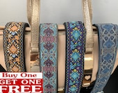 Woven Vintage Guitar Style Crossbody Purse Strap. Adjustable bag strap replacement.