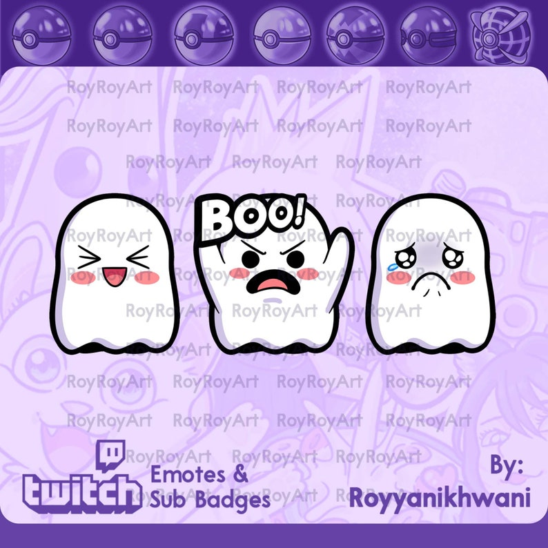 Twitch Emotes Ghost pack boo happy sad