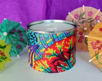 Summer of Lovebugs, Citronella outdoor candle, Strong Scented Lemongrass Candle, Funky, vibrant patterned candle