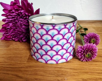 Jasmine, Cedar, Citrus & Spice Scented Soy Candle, Art Deco Pink Candle, Tuscan Leather Candle