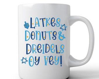 Hanukkah Mug   Jewish Humor Mug   Coffee Mug   Latkes Donuts Dreidels Oy Vey