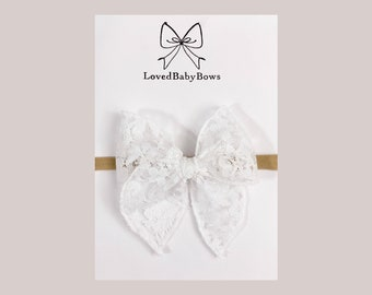 Ivory Lace bow Floral headband Lace baby headband Toddler bows Beige bow Delicate headbands Dainty bows Sand bow Headbands set Set of 2 bows