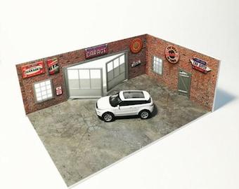 Diorama Brick Garage display model Kit Scale 1:60 / 64 car service NEW