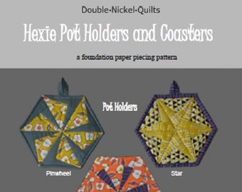 Hexie Pinwheel and Hexie Star Pot Holder and Coaster foundation paper pieced digital download pattern #DNQ-122