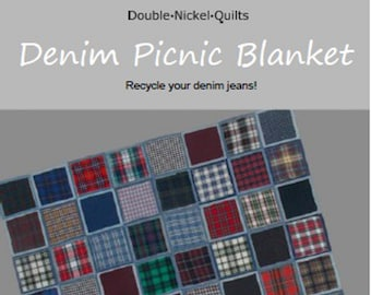 Denim Picnic Blanket digital download pattern by Double Nickel Quilts #DNQ-121