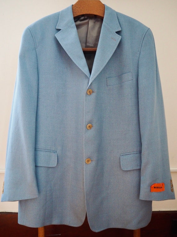 Pale cerulean men summer suit jacket