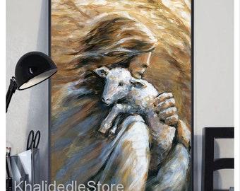 Jesus the Good Shepherd Lifting Up Lost Lamb Original Acrylic Painting or Giclee Print, Christian Art, Portrait of Christ