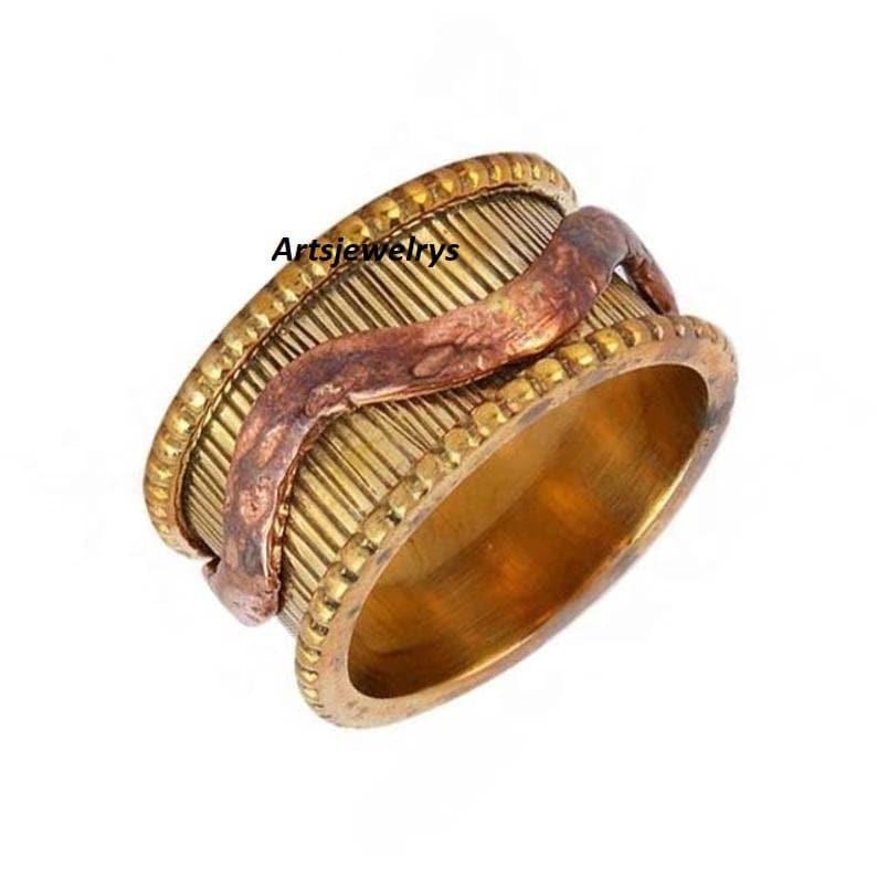 Meditation Solid  Sterling Brass Ring Wedding Day Ring Handmade Ring Ring meditation Handmade Jewelry Spinner Ring anxiety ring