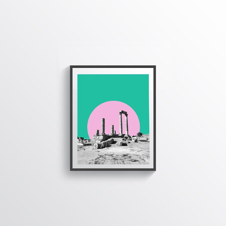 abstract Minimalist Wall Art print, collage contemporary art print full moon geometric Fine art print