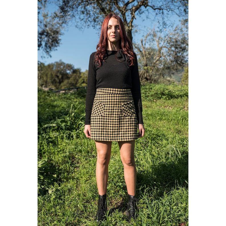 TRAPEZE SKIRT in wool  checked miniskirt  vintage style of image 0