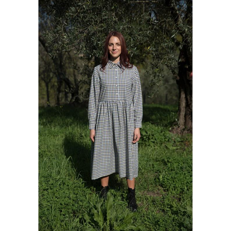 APRON-style checked SHIRT DRESS  cotton image 0