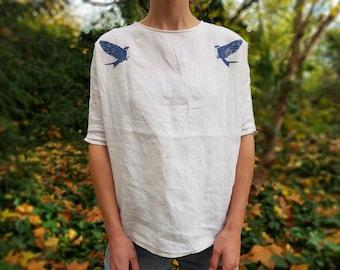 Blue swallow linen shirt