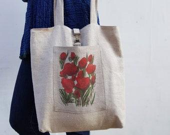 Hand printed linen tote bag