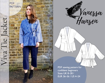 Viva Tie Jacket **PDF** Sewing Pattern / INSTANT DOWNLOAD