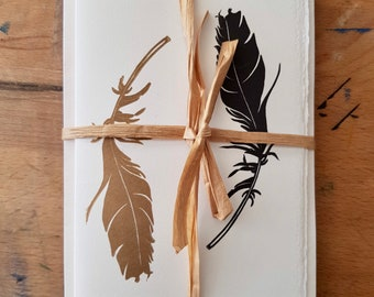 Gold and black feather greeting cards set of 4