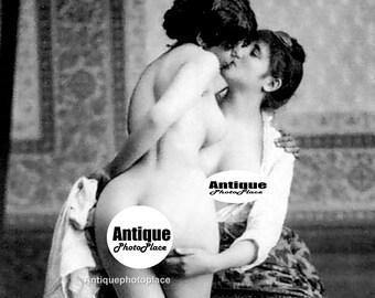1920's Era French Postcard,  Romantic  Vintage Girl  Retro Art Photo Sultry , Two Women