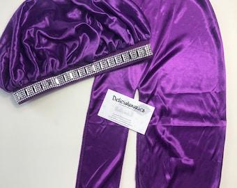 Purple Bling bonnet and Durag set