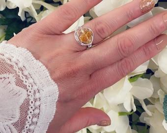 Real crystal, healing stones, wire wrapped Boho ring/handmade rings, custom made / amethyst / rose quartz / citrine wealth / handmade